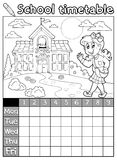 Coloring book school timetable 6 Stock Photo