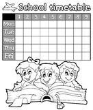 Coloring book school timetable 2 Stock Image
