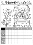 Coloring book school timetable 7 Stock Photography