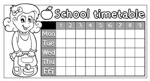 Coloring book school timetable 8 Royalty Free Stock Image