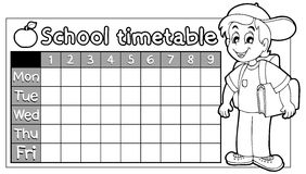 Coloring book school timetable 9 Royalty Free Stock Photography