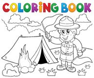 Coloring book scout boy with flags Stock Photos