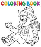 Coloring book scout boy theme 2 Royalty Free Stock Photo