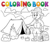 Coloring book scout boy theme 4 Royalty Free Stock Photography
