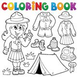 Coloring book scout thematics 1 Stock Photos