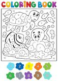 Coloring book with sea animals 4 Stock Photos