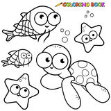 Coloring book sea animals set Stock Photos