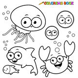 Coloring book sea animals set Royalty Free Stock Photography
