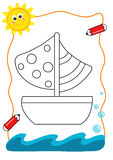 Coloring book sea, the boat. A page to be color for children with the theme of the sea Stock Photo
