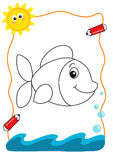 Coloring book sea, the fish royalty free stock images