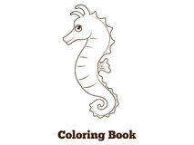 Coloring book sea horse fish cartoon illustration Stock Images