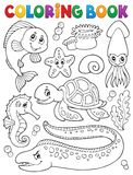 Coloring book sea life collection 1. Eps10 vector illustration Stock Images