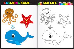 Coloring book sea life. Nature coloring book page for kids with colorful sea animals Royalty Free Stock Photo