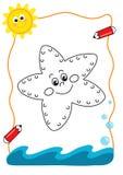Coloring book sea, the sea star stock illustration