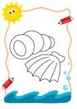 Coloring book sea, the shells royalty free stock photos
