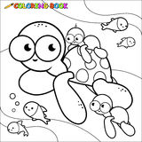 Coloring book sea turtles underwater. Black and white outline image of a family of sea turtles swimming underwater. Coloring book page Stock Image