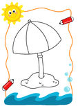 Coloring book sea, the umbrella royalty free stock images