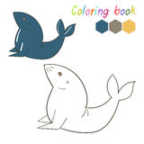 Coloring book seal kids layout for game Stock Photo