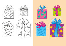 Coloring Book Of Set Christmas Square Gift Boxes. Vector illustration of set Christmas square gift boxes for coloring page for kids Stock Images