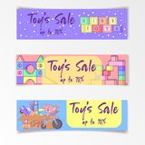 Cute kids toys sale banner with set of different toys for boys and girls isolated. eps10  illustration. Coloring book with set of different toys for boys and Royalty Free Stock Photos