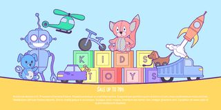 Cute kids toys shop banner with set of different toys for boys and girls isolated. Vector background eps10 illustration. Coloring book with set of different Stock Photos