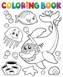 Coloring book with shark snorkel diver Stock Image