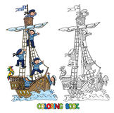 Coloring Book with ship and happy sailors Royalty Free Stock Photos