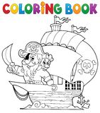 Coloring book ship with pirate 1 Royalty Free Stock Photo