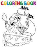Coloring book ship with pirate 2 Royalty Free Stock Images