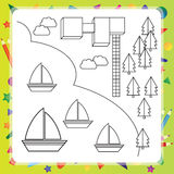 Coloring book with ships - vector illustration Royalty Free Stock Photography