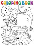 Coloring book shipwreck with rocks Stock Photo