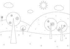 Coloring book  - Simple spring geometrical landscape Stock Photo