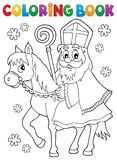 Coloring book Sinterklaas on horse Royalty Free Stock Images