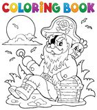 Coloring book with sitting pirate Royalty Free Stock Photos