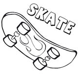 Coloring book  skateboard. Cartoon style. Clip art for children. Stock Photos
