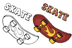 Coloring book  skateboard. Cartoon style. Clip art for children. Isolated image on white background. Paar Stock Image