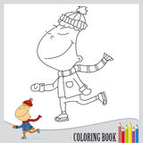 Coloring book - skater on ice (vector). One page of coloring book - winter sport Royalty Free Stock Images