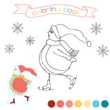 Coloring book with skating snowman. Winter scene in  illustration. Stock Images