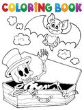 Coloring book skeleton and bat. Eps10 vector illustration Stock Photography