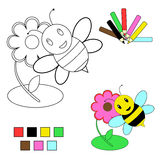 Coloring book sketch - bee and flower Stock Photo