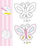 Coloring book sketch: butterfly Stock Photography