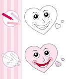 Coloring book sketch: cute heart stock photos