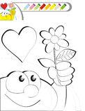 COLORING BOOK SKETCH: A flower for my mom Stock Photo