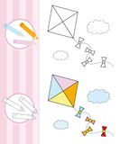 Coloring book sketch: flying kite Royalty Free Stock Photography