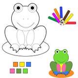 Coloring book sketch : frog Stock Illustration