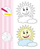Coloring book sketch: happy sun vector illustration