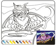 Coloring Book Sketch: The night owl Royalty Free Stock Image