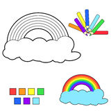 Coloring book sketch:rainbow Stock Photos