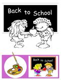 Coloring Book Sketch: The school Royalty Free Stock Images