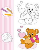 Coloring book sketch: teddy bear. Coloring book cartoon sketch with cute teddy bear and hearts Royalty Free Stock Images